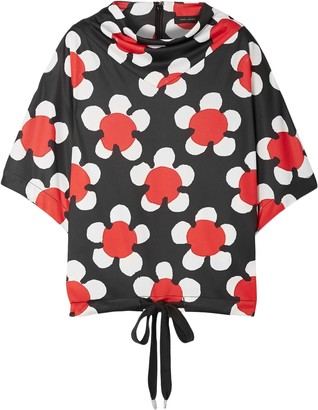 Marc Jacobs Oversized Draped Floral-print Jersey Top