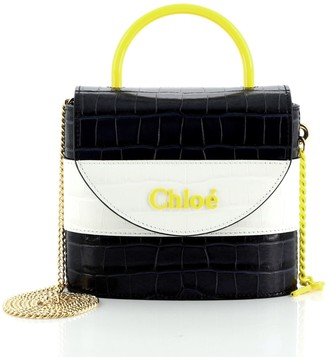 Chloé Aby Lock Bag Crocodile Embossed Leather Small