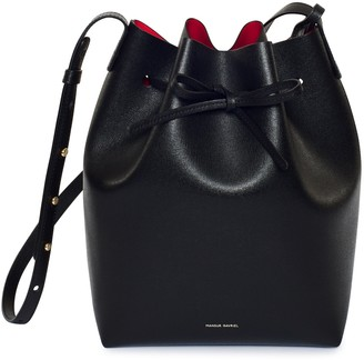 Mansur Gavriel Saffiano Bucket Bag - Black/Flamma