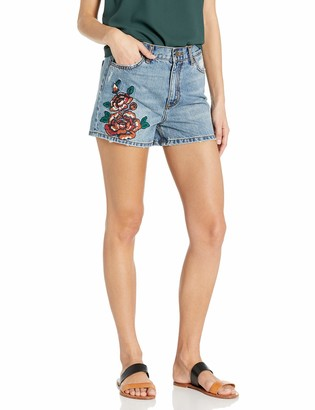 EVIDNT Women's Brunswick Embroidered Highwiasted Denim Shorts