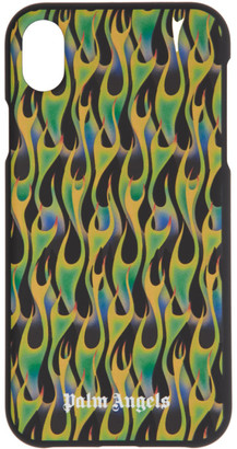 Palm Angels Black and Green Flames iPhone XR Case