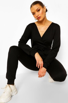 boohoo Loopback Wrap Front Lounge Jumpsuit