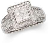 Zales 1-1/2 CT. T.W. Certified Princess-Cut Quad Diamond Engagement Ring in 14K White Gold (I/I1)