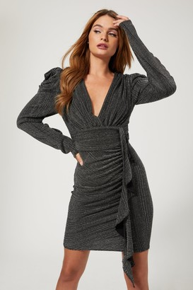 Girls On Film Duel Black And Silver Lurex Puff Sleeve Mini Dress
