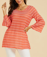 Suzanne Betro Weekend Women's Tunics 101RED/WHITE - Red & White Stripe Flare-Sleeve Tunic - Women & Plus