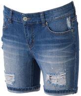 UNIONBAY Juniors' Ripped Denim Bermuda Shorts