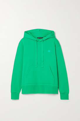Acne Studios Ferris Face Appliqued Cotton-jersey Hoodie - Green