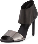 Vince Stephanie Ankle-Cuff Leather Sandal, Ruthenium/Black