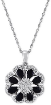 "Macy's Onyx & Diamond (1/20 ct. t.w.) Floral Disc 18"" Pendant Necklace in Sterling Silver"