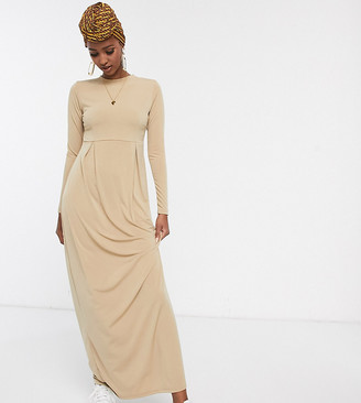 Verona Long Sleeve Maxi Dress With Pleat Detail