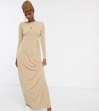 Verona long sleeve maxi dress with pleat detail-Beige