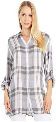 Lauren Ralph Lauren Plaid Roll-Tab-Sleeve Twill Shirt (Pink Multi) Women's Clothing