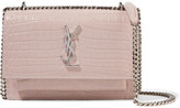 Saint Laurent Sunset Croc-effect Patent-leather Shoulder Bag - Taupe