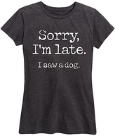 Instant Message Women's Women's Tee Shirts HEATHER - Heather Charcoal 'Sorry I'm Late Saw Dog' Relaxed-Fit Tee - Women & Plus