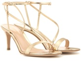 Gianvito Rossi Carlyle Mid Metallic Leather Sandals