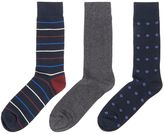 Linea 3 Pack Stripe Diamond Socks