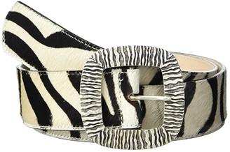 Leather Rock Delia Belt (Black/White Hair) Women's Belts