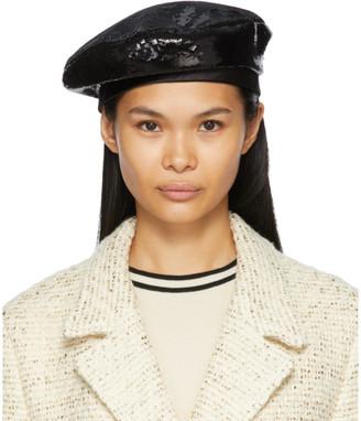 Gucci Black Sequin Glitter Beret