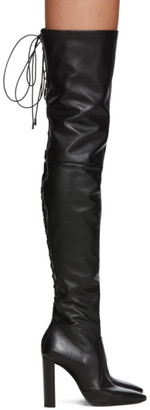 Saint Laurent Black 76 Laced Thigh-High Boots