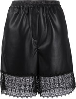 Self-Portrait Self Portrait faux-leather lace panel shorts