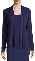 Eileen Fisher Silk/Organic Cotton Ribbed Cardigan, Dark Night, Petite