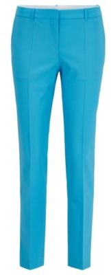 HUGO BOSS Regular Fit Pants In Traceable Merino Wool With Stretch - Light Blue