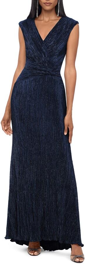 Xscape Evenings Shiny Knit V-Neck Gown