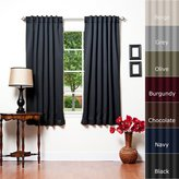 "Best Home Fashion Thermal Insulated Blackout Curtains - Back Tab/ Rod Pocket - Black - 52""W x 63""L - No tie backs (1 Panel)"