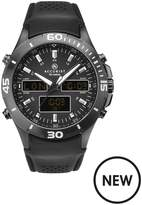 Accurist Black World Time Analogue And Digital Dial Black Leather Strap Mens Watch