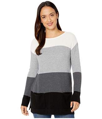 Vince Camuto Specialty Size Petite Two-Pocket Waffle Stitch Color Block Sweater