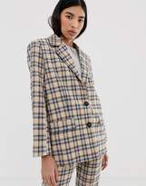 Asos Design DESIGN dad suit blazer in light based check-Multi