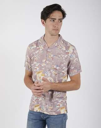 The Idle Man - Flower Print Revere Collar Shirt Pink