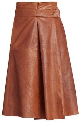 Chloé A-Line Leather Midi Skirt