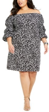 MSK Plus Size Printed Off-The-Shoulder Dress
