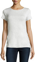 Neiman Marcus Lace-Up Boat-Neck Tee, New Light Heather Gray