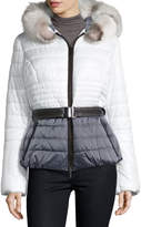 Gorski Colorblock Fur-Trim PufferJacket