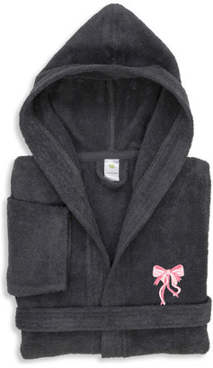 Linum Home Textiles Linum Kids Embroidered Bow Hooded Terry Bathrobe, Large
