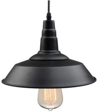 LNC Matte Black Retro Style Metal Industrial Pendant Light Warehouse S