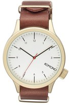 Komono Men's 'Magnus' Round Leather Strap Watch, 46Mm