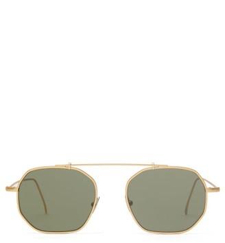 L.g.r Sunglasses - Nomad Aviator Metal Sunglasses - Green Gold