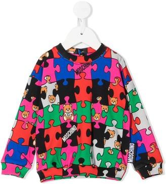 MOSCHINO BAMBINO Puzzle-Print Crew Neck Sweatshirt