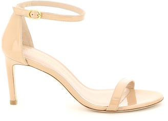 Stuart Weitzman NUNAKEDSTRAIGHT PATENT LEATHER SANDALS 36 Pink, Beige Leather