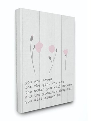 The Kids Room by Stupell Kids Inspirational Word Girls Flower Design Canvas Wall Art by Daphne Polselli
