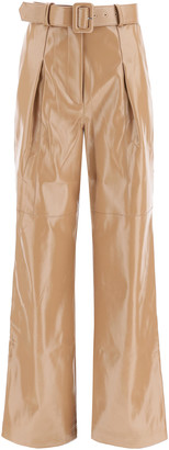 Self-Portrait FAUX LEATHER TROUSERS 10 Brown, Beige Faux leather