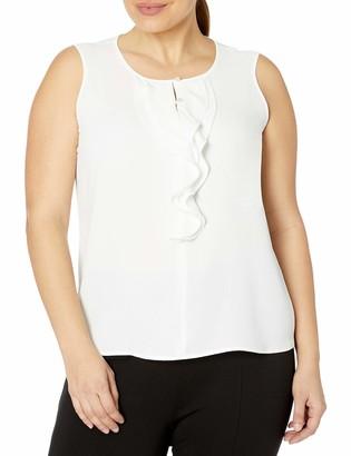 Kasper Women's Sleeveless Ruffled Button Front Crepe Blouse
