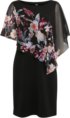 Wallis Black Floral Print Overlay Dress