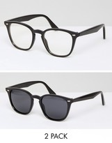 Asos 2 Pack Square Geeky Clear Lens & Sunglasses