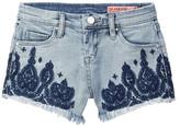 BLANKNYC Denim Embroidered High Waist Denim Short (Big Girls)