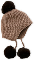 Portolano Real Fur Pom-Pom Knitted Trapper Hat
