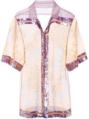 Dries Van Noten Sequinned silk organza shirt